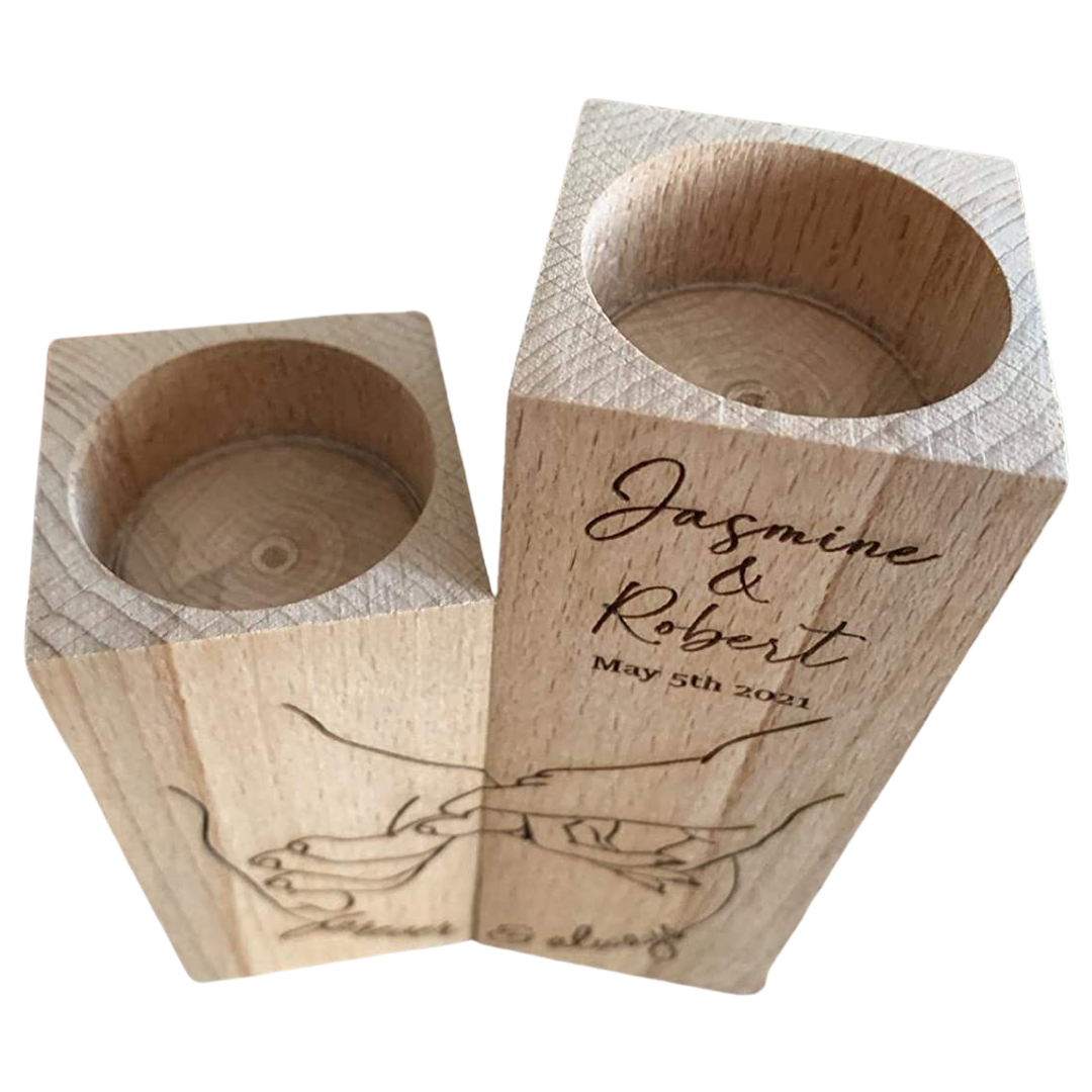 Akamar Personalized Wooden Candle Holder