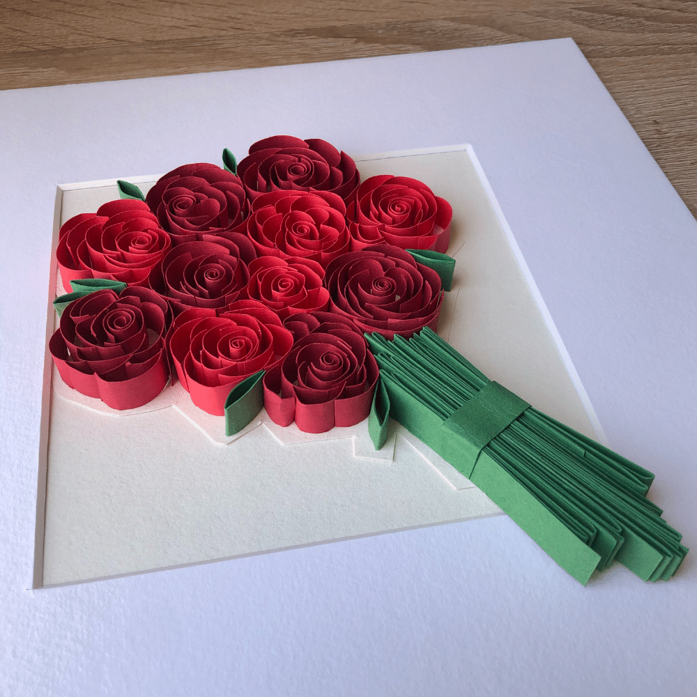 Paper Quilling Wall Art, Red Roses/Rose Bouquet