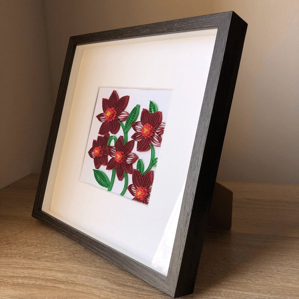 Paper Quilling Wall Art, Red Flower/Floral Wall Art