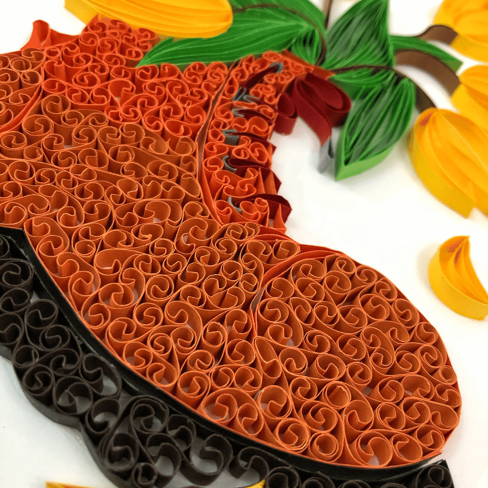 Paper Quilling Wall Art, Shoe Shaped Flower Vase with Tulips