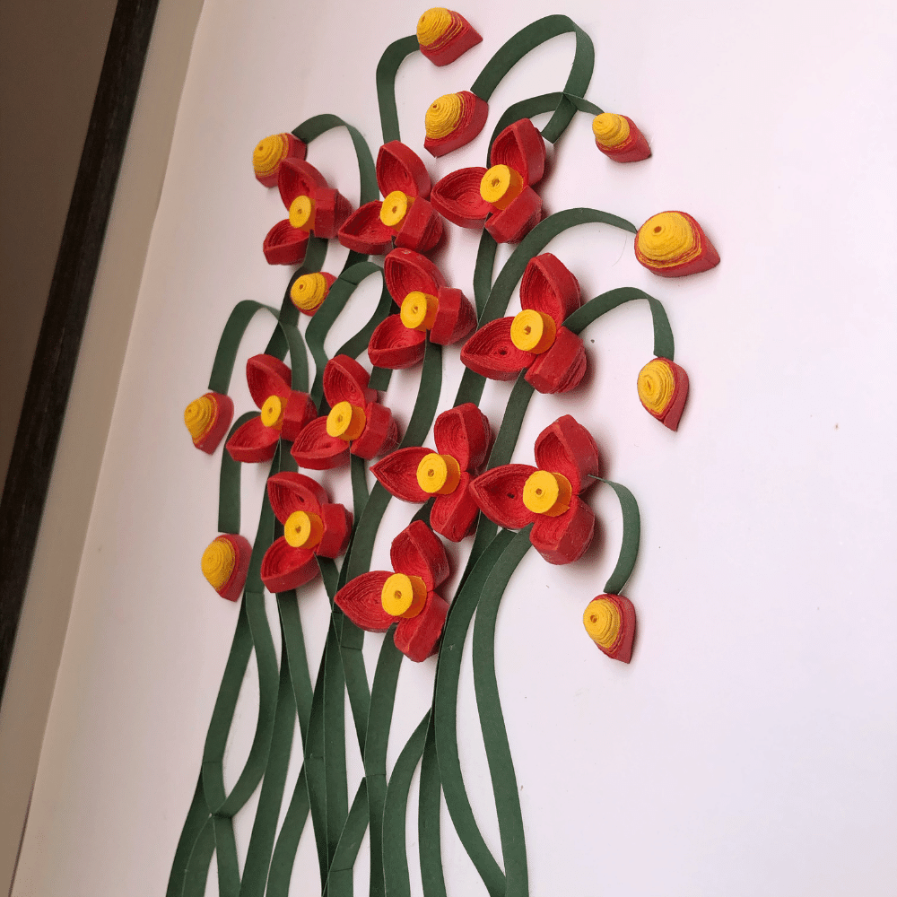 Paper Quilling Wall Art, Wild Red Flower - Floral Wall Art