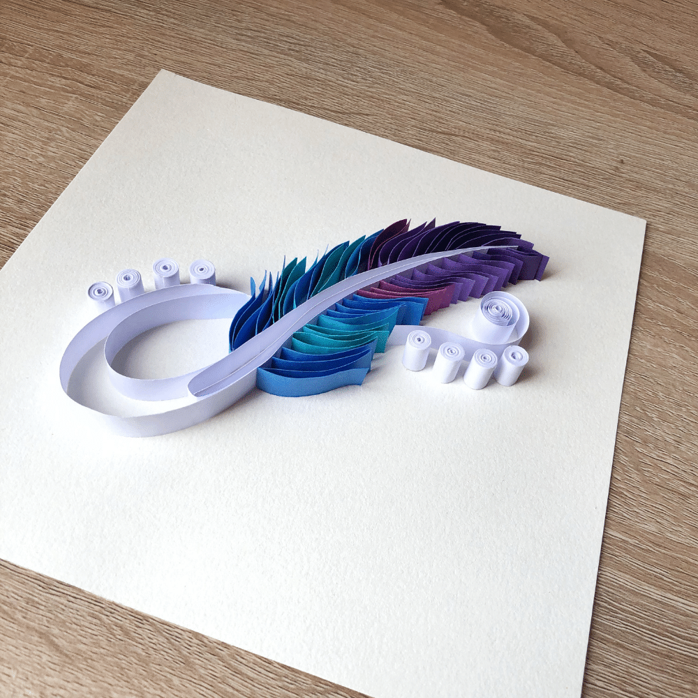 Paper Quilling Wall Art, Blue Shade Feather for Home Decoration