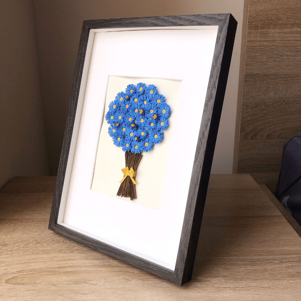 Paper Quilling Wall Art, Blue Fringed Flower - Floral Wall Art