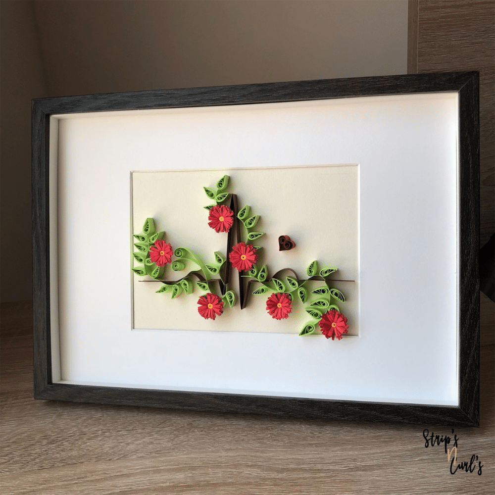 Paper Quilling Wall Art, Floral Electrocardiogram - Wall Art