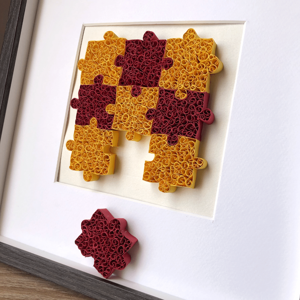 Paper Quilling Wall Art, Jigsaw Puzzle Paper quilled Wall Decor