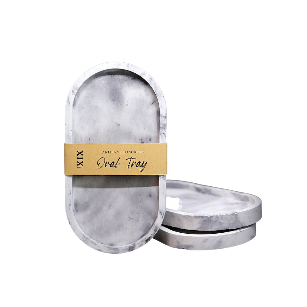 Concrete Oval Tray, Marble Grey
