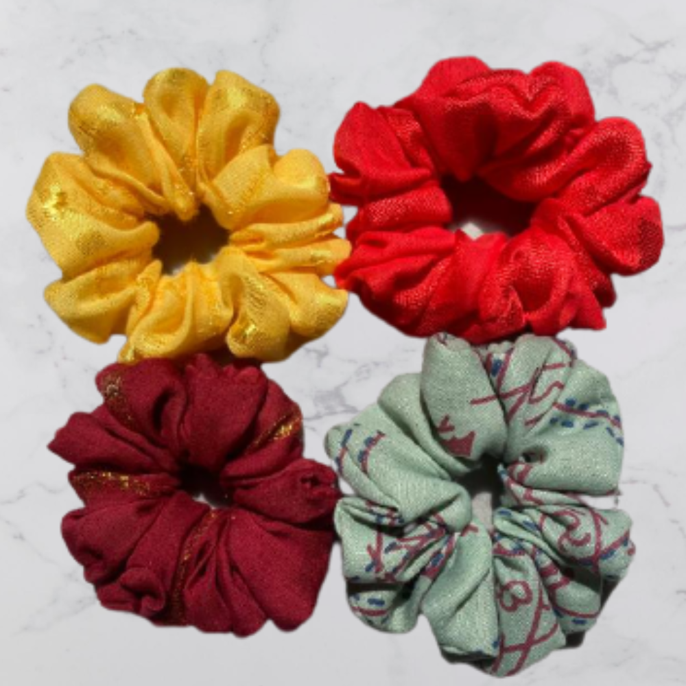 Viscose And Polyester Scrunchies, Set of 4