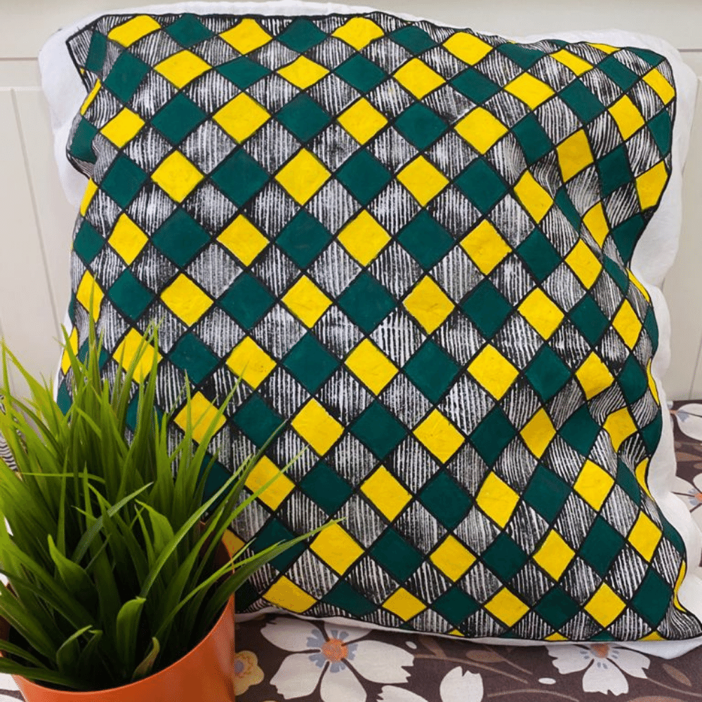 Hand Painted Cushion Cover, Check Pattern