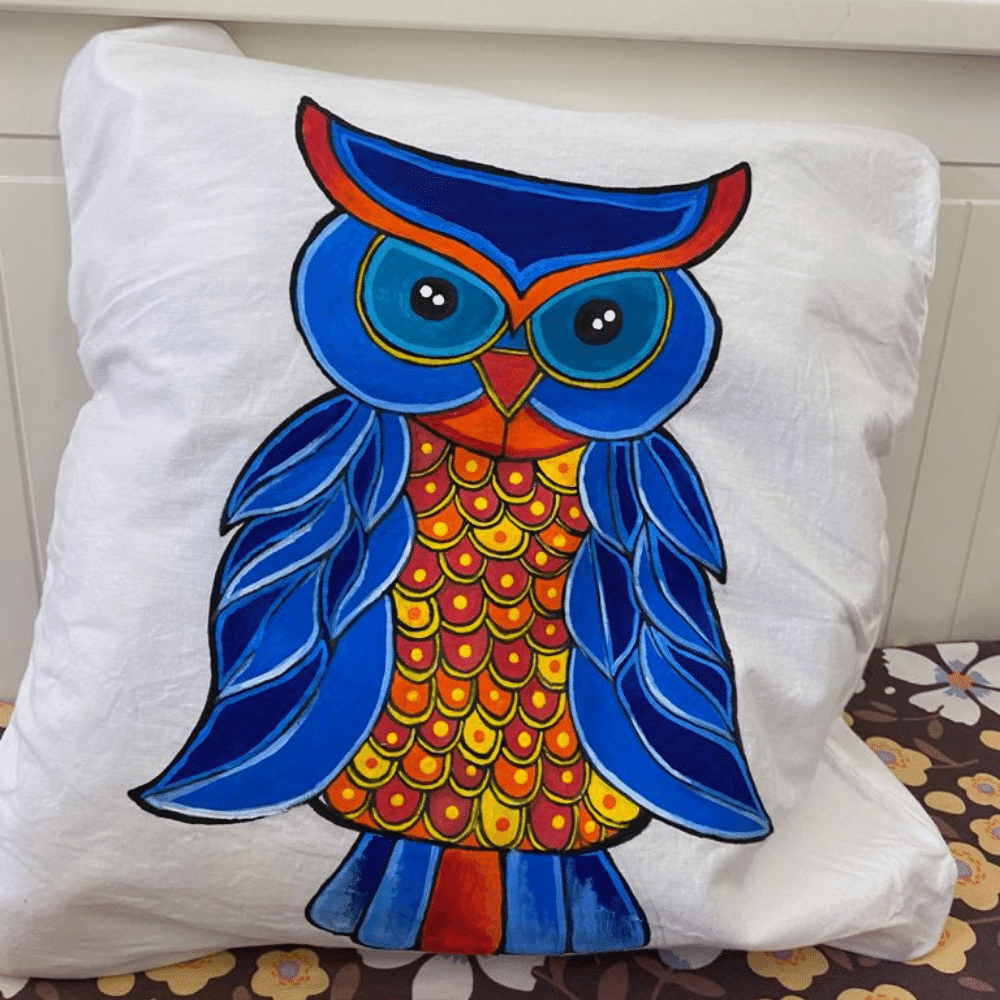 Hand Painted Cushion Cover, Owl Pattern