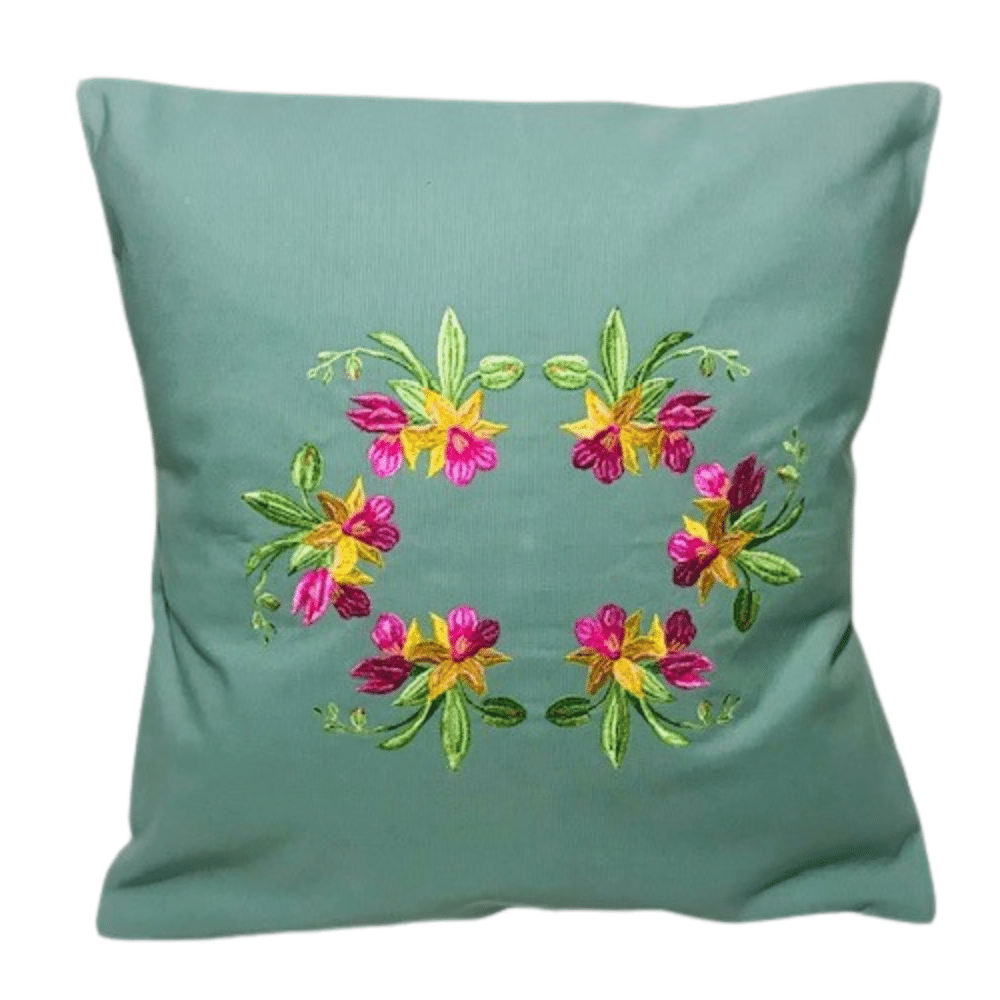 Pale Green Pillow Case Embroidered With Stunning Tropical Orchids. Corners Of The Pillow Are Tapered (No Sticking Corners).