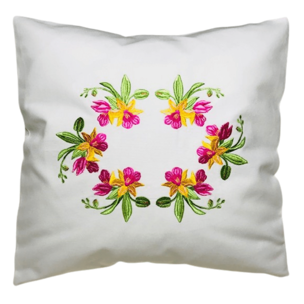 Off-White Pillow Case Embroidered With Stunning Tropical Orchids. Corners Of The Pillow Are Tapered (No Sticking Corners).
