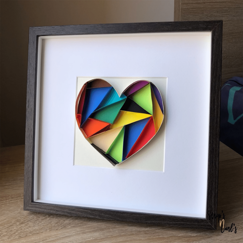 Paper Quilling Wall Art, Multicolor Textured Heart - Valentines Gift