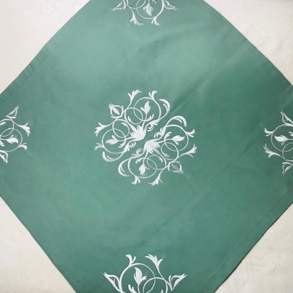 Green Square Tablecloth With White Baroque Embroidery Décor