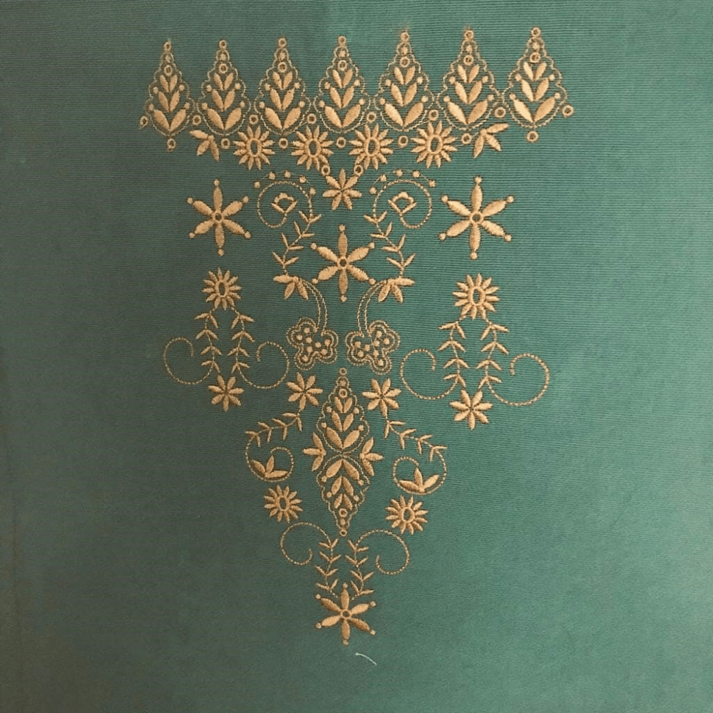 Pale Green Table runner With Amber Embroidery Décor