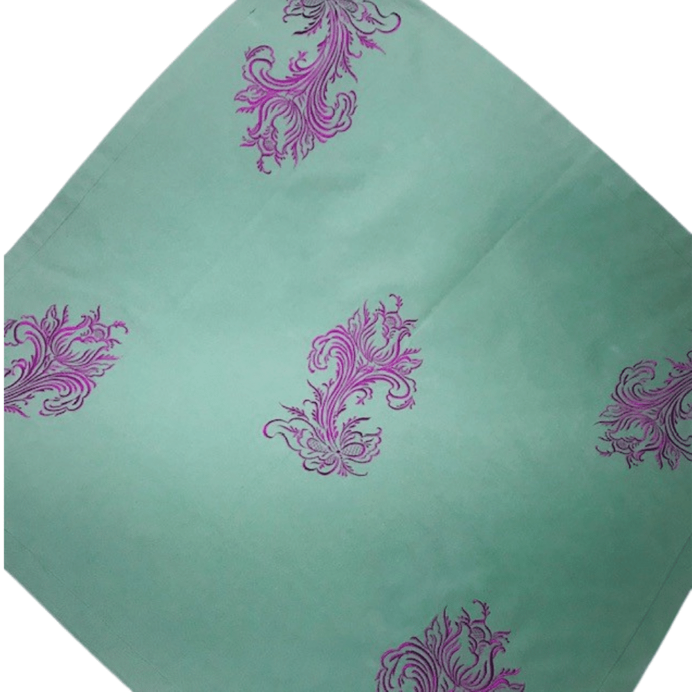 Pale Green Tablecloth With Magenta Rosemaling  Embroidery Décor