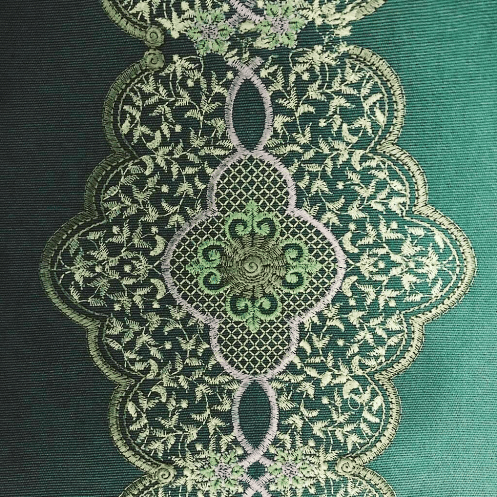 Pale Green Tablecloth With Tiny Green Leaves And Pink Outline Embroidery Décor
