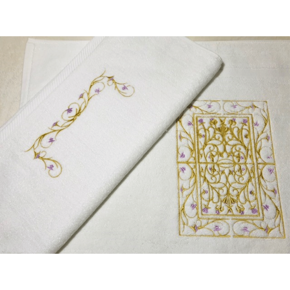 Towel With Gold/Pink Flower Embroidery