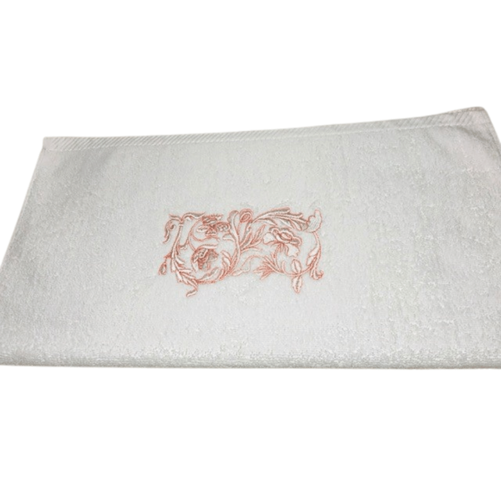 Towel With Pink/ White Small Flower Embroidery