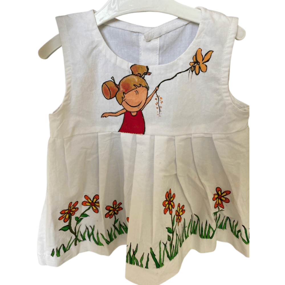 Fabric Art On Baby Frocks, Florals